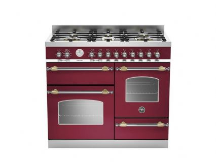 100cm XG Bertazzoni Heritage 6 burners and triple electric ovens in Burgundy HER100-6-MFE-T-VIT